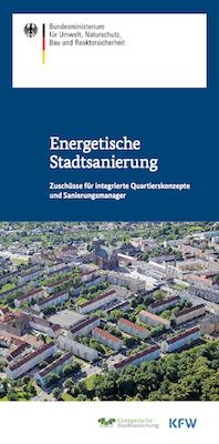 Coverbild des Flyers Zuschüsse für integrierte Quartierskonzepte und Sanierungsmanager